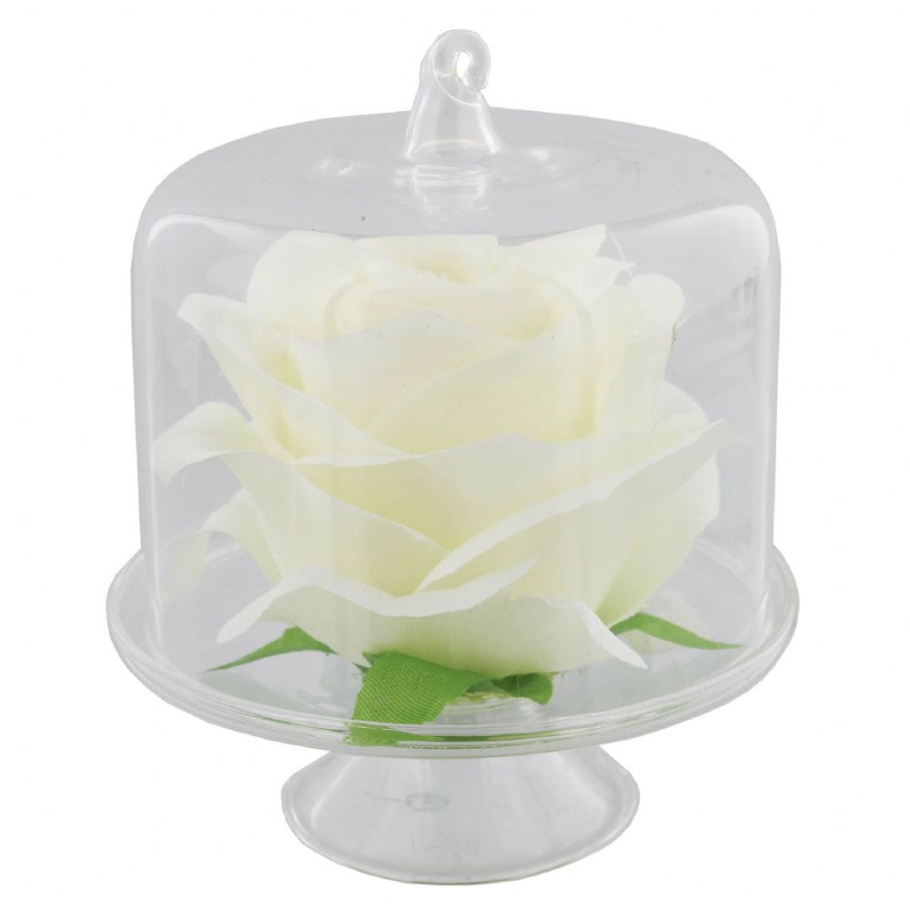 White Rose Encased in Glass Dome - Dressing Table Ornament - Table Dressing Accessory